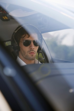 Pilot in helicopter photo