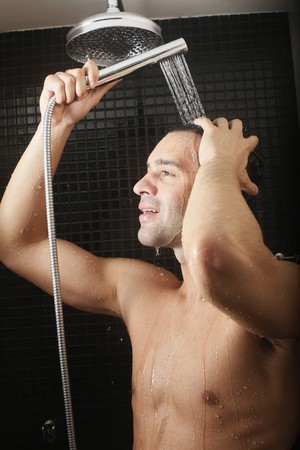 Man taking shower photo