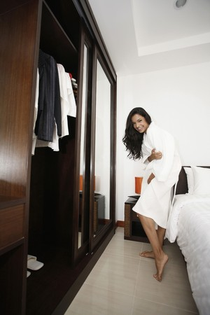 Woman in bathrobe Stock Photo - 7446427