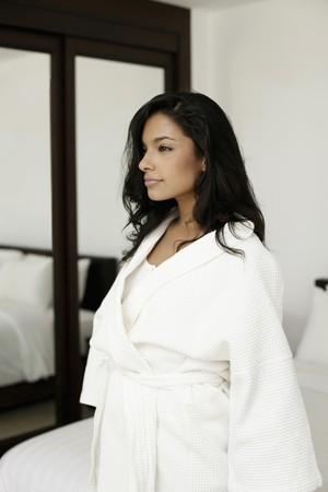 Woman in bathrobe looking away Stock Photo - 7445980