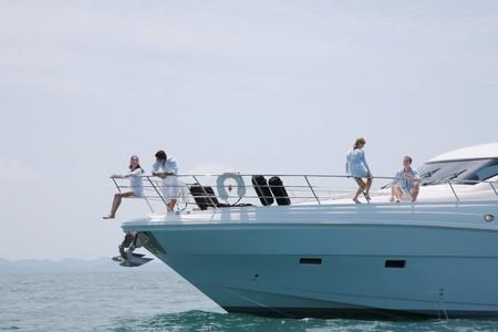 brazilian ethnicity: Two couples relaxing on yacht Stock Photo
