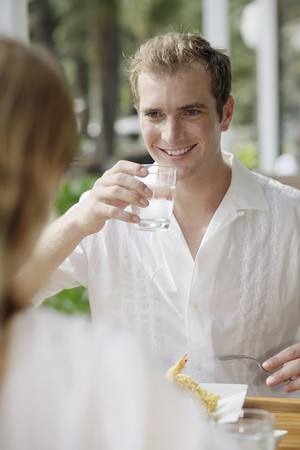 australian ethnicity: Man drinking a glass of water