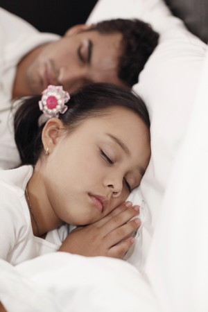 Father and daugher sleeping peacefully photo