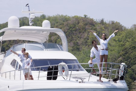 Two couples on yacht photo