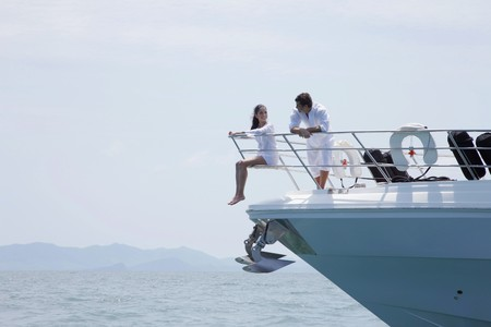 Couple relaxing on yacht Stock Photo - 7478090