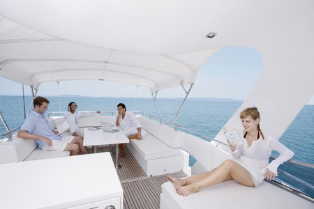 luxury yacht: Couples relaxing on yacht