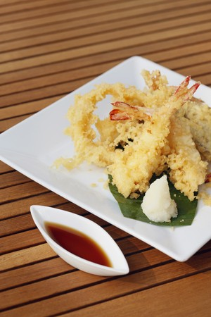 Prawn tempura with sauce photo