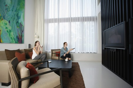 Women watching television together photo