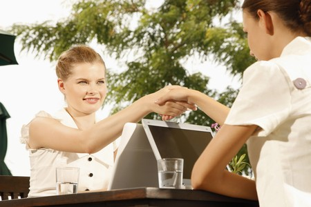 Businesswomen shaking hands and smiling Stock Photo - 7594959