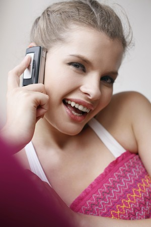 Woman talking on the phone Stock Photo - 7595201