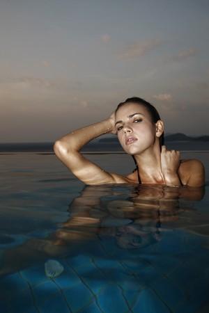 Woman in pool Stock Photo - 7595542