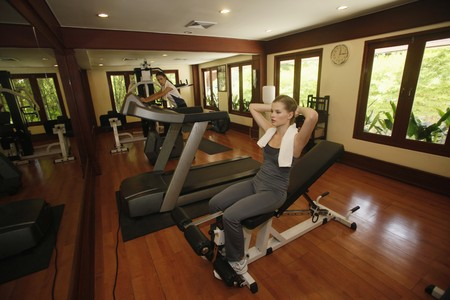 Women working out at gym photo