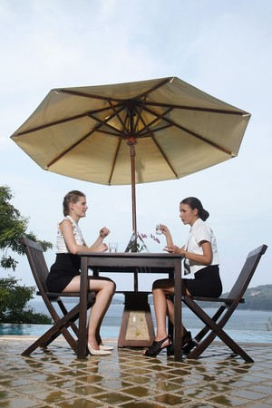 ukrainian ethnicity: Businesswomen having discussion by the poolside