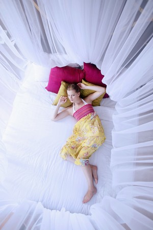 Woman sleeping under mosquito netting photo