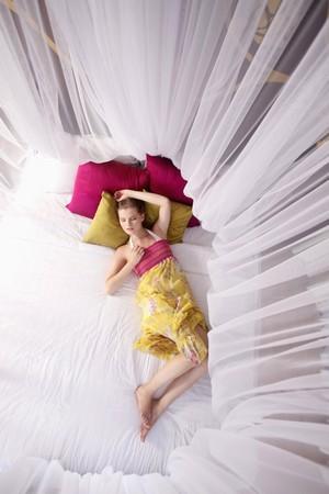 Woman sleeping under mosquito netting photo