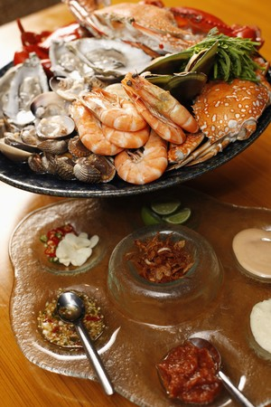 seafood platter: Seafood platter with sydney rock oysters, black and blue crab, rock lobster, tiger prawns, mussels, clams and cockles served with an array of dips to share