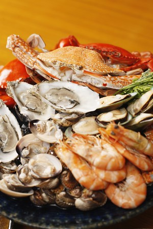 oyster: Seafood platter with sydney rock oysters, black and blue crab, rock lobster, tiger prawns, mussels, clams and cockles  Stock Photo