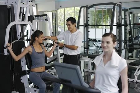 Women exercising in the gymnasium photo