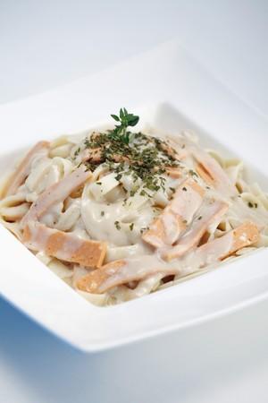 Pasta Carbonara with turkey ham photo