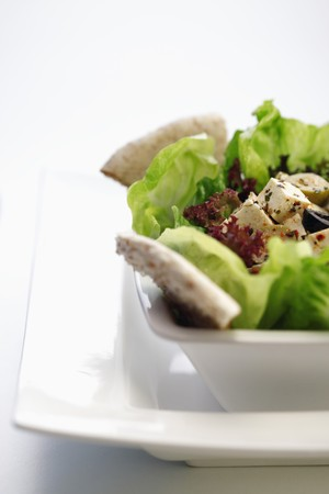Salad with Feta cheese and pita crackers photo