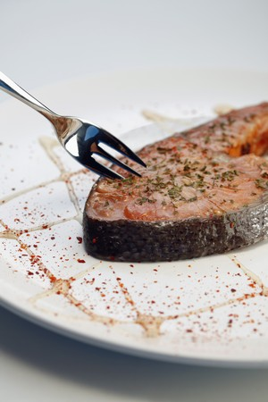 Grilled Salmon Steak with herbs and paprika Stock Photo - 7685321