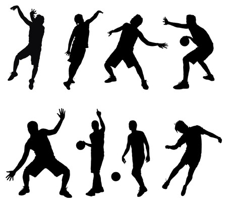 medium shot: Silhouettes of basketball players Illustration
