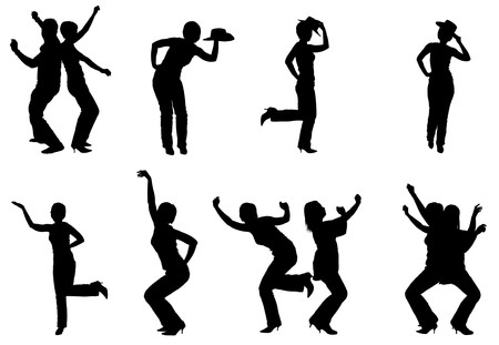 excitement: Silhouettes of people dancing