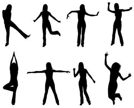 Silhouettes of people dancing and practising yoga Vector
