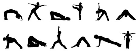 Silhouettes of people practising yoga Stock Vector - 7773847