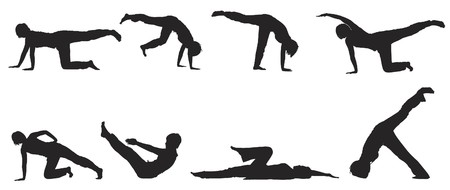 woman lying down: Silhouettes of people practising yoga