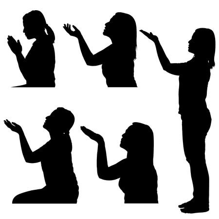 frau nach oben schauen: Silhouetten der Frau, die beten  Illustration