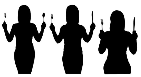 Silhouettes of woman holding silverware Vector