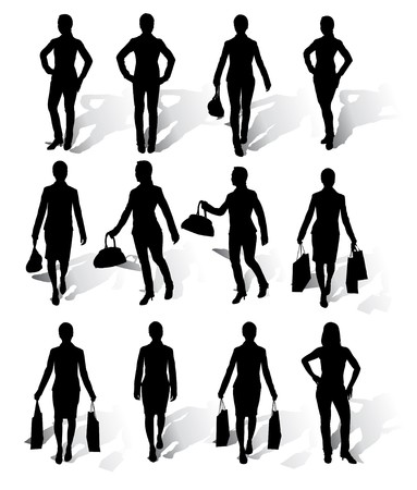 Collection of businesswomen silhouettes with shadow Stock Vector - 7773849