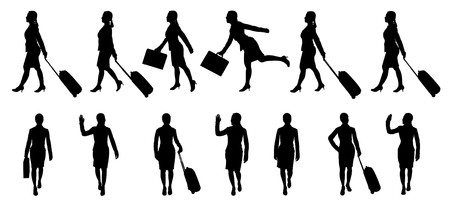 travel luggage: Silhouettes of businesswoman