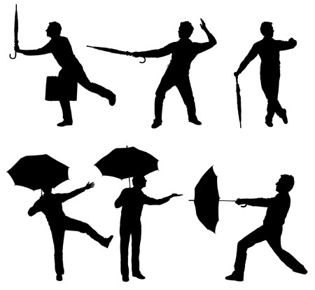 Silhouettes of man holding an umbrella in different poses Illustration