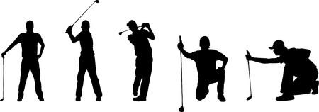 golf cap: Silhouettes of a golfer