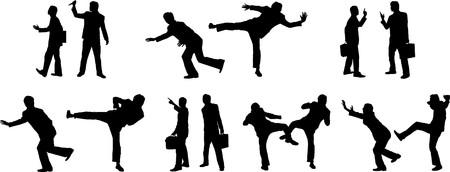 agression: Collection des silhouettes de gens business
