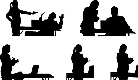 woman with gun: Silhouette of business people