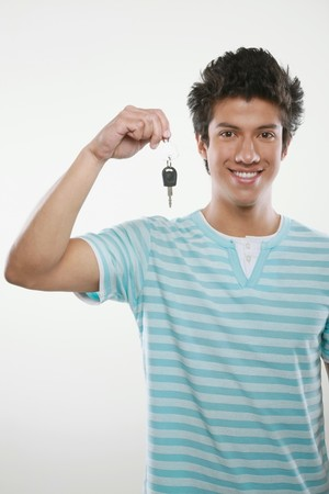 Happy man holding car keys Stock Photo