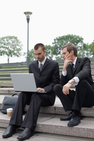 Businessmen working outdoors Stock Photo - 7834976