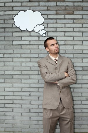 scandinavian descent: Businessman with thought bubble