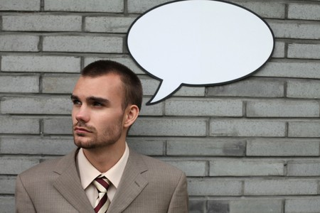 Businessman with speech bubble Stock Photo - 7834899