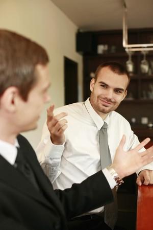 scandinavian descent: Businessmen having dicussion