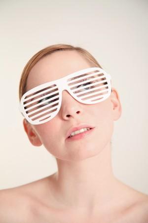 Woman wearing fashion shades photo