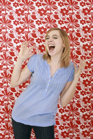 Woman screaming with eyes closed Stock Photo - 7835804