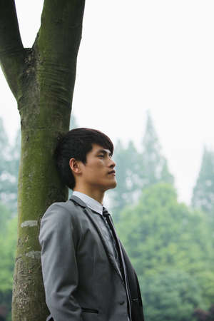Businessman leaning against a tree, contemplating photo