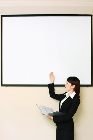one to one meeting: Businesswoman giving presentation