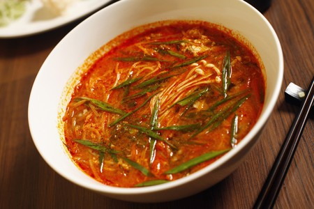 Spicy chilly bean paste soup noodle photo