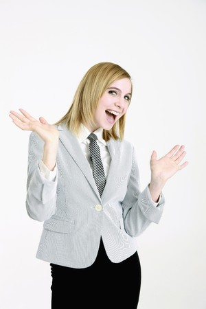 Businesswoman smiling with open hands photo