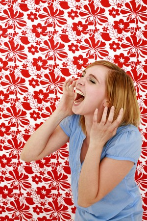 Woman screaming with eyes closed